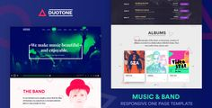 Duotone is a Spotify Inspired One Page Responsive Parallax Template for bands and musicians.    Looking for a modern, lively and creative website for your Band or Musicians? You've reached the righ...
