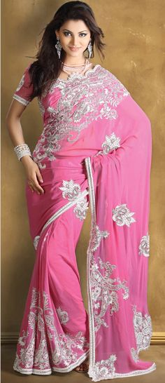 Deep #Pink Pure Georgette #Saree With Blouse @ $505.23