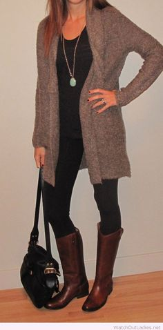 Black pants and blouse with brown cardi and boots