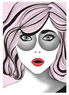 Bubblegum Pink Fashion Illustration by BeckiBoos #Fashion art #Illustration