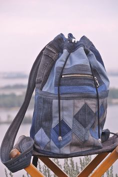 Patchwork denim backpack Cubes by bRucksack on Etsy