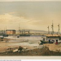 Port Adelaide, 1846 by George French Angas - 'The view given of Port Adelaide in the accompanying plate, is taken from the opposite bank of the harbour, looking towards the Mount Lofty Ranges . Early Explorers, Image Center, Australian Painters, South Australia, Custom Homes, Paris Skyline, Fine Art, French, Artist