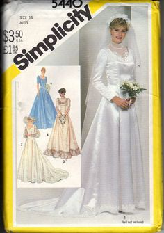 Vintage Factory Folded Simplicity Bridal Gown Tissue Pattern 5440 Sizes 14 Bust 36 circa 1982 by EvaStAlbans on Etsy