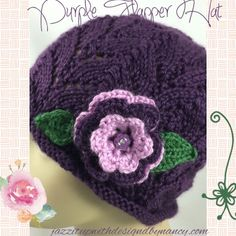 #LadiesHat #Handknit #cpromo Purple 3 tier flower leaf Button Caron Simply Soft