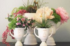 How to Make DIY Monogrammed Trophies // would make super cute centerpieces