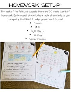 First Grade Homework For the Entire Year