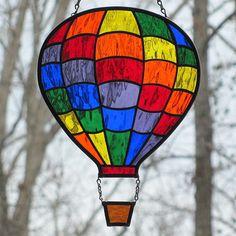 Rainbow Stained Glass Hot Air Balloon Suncatcher by LivingGlassArt, via Etsy.