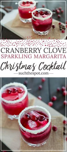 Cranberry clove sparkling margarita When it comes to drinks that are both impressive and festive, this merry margarita is a winner. Serve this at your Christmas party and Santa will definitely put you on his nice list. Best Christmas Cocktails, Christmas Drinks Alcohol, Holiday Cocktails, Christmas Mocktails, Holiday Parties, Margarita Recipes, Cocktail Recipes, Pina Colada, Noel Christmas