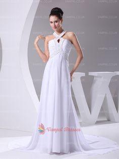 136.00$  Watch now - http://vimfk.justgood.pw/vig/item.php?t=logrux14974 - Elegant White Halter Neck Chiffon Beaded Long Prom Dresses With Trains