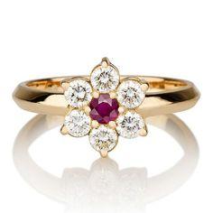 Rubi Engagement Ring, 14k Unique Yellow Gold, Rubi Gold Ring, Vintage Rubi ring, Art Deco Rubi ring