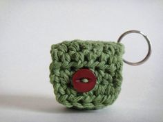 Miniature Crochet Cozy Pouch with Key Ring//Coin Pouch by PSJBoutique