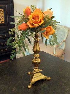 """A helpful idea to keep in your design repertoire is to use candlesticks, of any height or material, as the """"container"""" for your arrangements. Less than 1/8th of a fresh floral foam brick is liberally taped to the candlestick's top then filled with a selection of roses. Note that the most open flowers have greater …"""