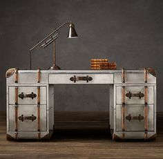 Richards' Metal Trunk Desk from Restoration Hardware. Richards' Metal Trunk Desk from Restoration Hardware. Industrial Decor, Restoration Hardware, Furniture, Suitcase Furniture, Metal Trunks, Vintage Desk, Vintage Industrial Decor, Desk, Steampunk Furniture