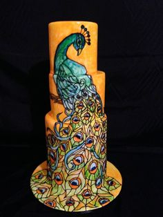Stunner of a cake! What a cool class this would be! Stain glass peacock from Kelvin Chua master class.