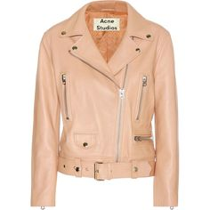Acne Studios Mock Leather Jacket (21.671.425 IDR) ❤ liked on Polyvore featuring outerwear, jackets, pink, real leather jacket, leather jacket, 100 leather jacket, pink jacket and red jacket