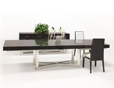 """84"""" - 123"""" Modern Conference Table with High Gloss Gray Oak Top"""