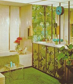 Vintage Home Decorating 1970s, Lighting, carpeted bathroom