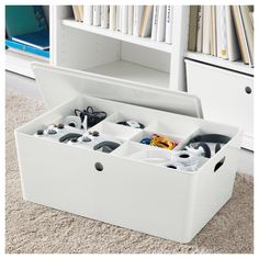 KUGGIS Insert with 8 compartments, white. You can use this smart insert on its own or to add an extra shelf to our biggest KUGGIS box. A practical solution for gaming and arts and crafts – keeping all those smaller things organised. Konmari, Home Organisation, Closet Organization, Ikea Organization Hacks, Shallow Shelves, Pet Bottle, Plastic Animals, Storage Hacks, Packaging
