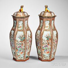Pair of Chinese Export Porcelain Vases and Covers, late 18th century. | Auction 2888B | Lot 320 | Sold for $18,450