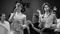 11 January 2016 David Bowie dies: Bowie performing at Live Aid, alongside Pete Townshend, Paul McCartney and Bob Geldof