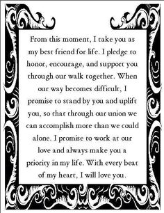 nontraditional wedding vows best photos is part of Wedding vows examples - 14 Lyssabeth's Wedding Officiants Image source 13 Nontraditional Wedding Vows That Will Make You Believe In Love… Continue Reading → Wedding Vows For Him, Romantic Wedding Vows, Do It Yourself Wedding, Wedding Quotes, Funny Wedding Vows, Wedding Rustic, Romantic Poems, Wedding Speeches, Wedding Officiant Script Funny