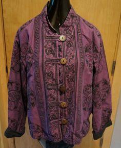 Fair Trade Ganesh Himal Celtic PURPLE Women's Woven Jacket XL #GaneshHimal #Vintage