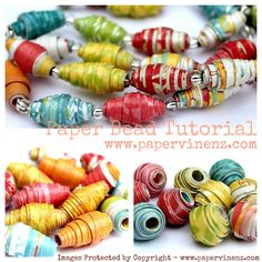 Paper bead tutorial with templates for different beads