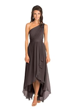 Chiffon one-shoulder bridesmaid dress by Jenny Yoo. Asymmetrical hemline / high-low dress in graphite / gray / neutral.