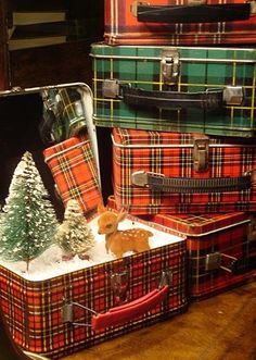 Vignette of tartan lunch boxes for Christmas.....