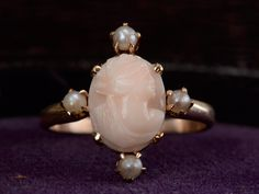 1900s Pink Coral Cameo Ring.