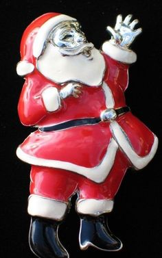 """SILVER TONE TRADITIONAL OLD WORLD WAVING SANTA PIN BROOCH PENDANT JEWELRY 2.75"""" #Unbranded"""