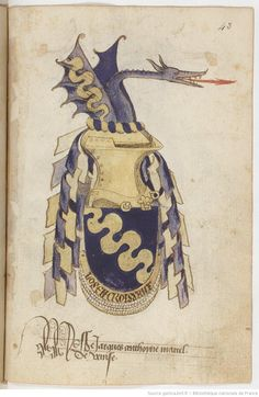 Arms from the 15th c. French manuscript, Statuts de l'Ordre du Croissant, fondé par René d'Anjou (1448).