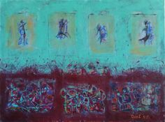 Latino Dancers Large artwork, turquoise & bordeaux abstract, especially for dance lovers. In this painting you can feel the atmosphere of Latin America, music, dance, love, happiness and warm people. I can imagine this painting hanging on a wall in a house with a big loving family. Each of my painting is very special to me and I feel like Im looking for the the best home to be. If my art touch your heart you are the one for it! Do not hesitate to contact me, I am available for any questions…