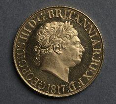 Sovereign (obverse), 1817 designed by Benedetto Pistrucci (Italian, 1784-1855) gold