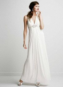 Simple and chic, you will look amazing this long jersey wedding dress!  Long soft jersey dress features v neckline with eye catching beaded knot detail.  Sultry plunging back detail for added drama.  Fully lined. Imported polyester. Invisible back zipper. Professional spot clean only, no direct heat or steam.  To protect your dress, try our Non Woven Garment Bag.