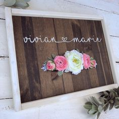Excited to share this item from my shop: Rustic Nursery Baby Name heart personalized wood sign little girl room boho silk flowers hand painted sign Dyi, Baby Crib Diy, Baby Cribs, Girls Room Paint, Personalized Wooden Signs, Reclaimed Wood Projects, Rustic Nursery, Woodland Nursery, Rustic Frames