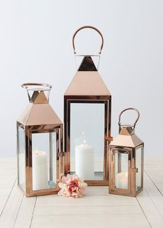 Set of 3 Decorative Rose Gold Metal Candle Lanterns - Kerze Gold Lanterns, Gold Candles, Lanterns Decor, Large Candle Lanterns, Rose Gold Room Decor, Rose Gold Rooms, Home Decor Hacks, Easy Home Decor, Decorating Hacks