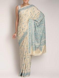 Ivory-Turquoise Tussar Silk Kantha Embroidered Saree