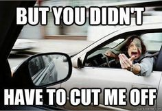 I was cut off today. ._. Twice. Stupid drivers.