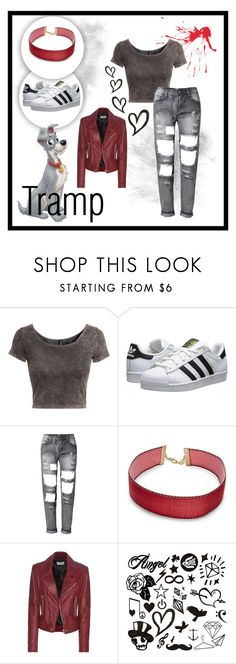 """""""Tramp (Lady and the Tramp)"""" by fellziii ❤ liked on Polyvore featuring H&M, adidas Originals, Design Lab and Balenciaga"""