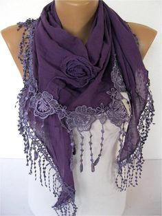 Purple Fashion scarf Triangular by MebaDesign