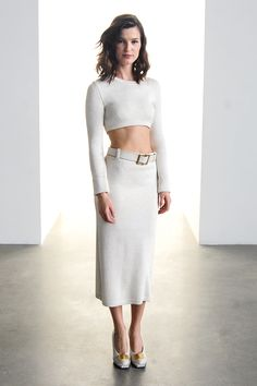 Calvin Klein Collection - Hanneli Mustaparta - New York Fashion Week, Fall/Winter 2014-2015 - all white - outfit - streetstyle