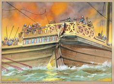 Angus McBride - Una galera española embistiendo a un cog inglés en la batalla naval de la Rochelle, 1372.