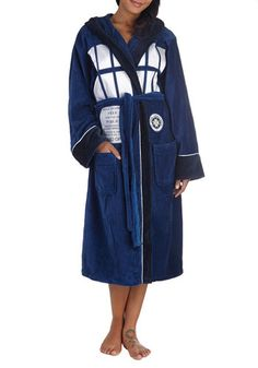 TARDIS 'n' That Robe - Blue, Casual, Travel, Quirky, Scholastic/Collegiate, Hoodie, Long Sleeve, Cotton, White, Novelty Print, Pockets, Belt...