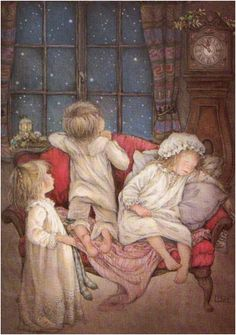 Waiting for Santa. Painting by  Lisi Martin