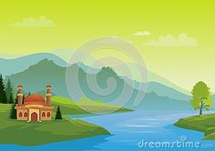 Illustration about Islamic cartoons, mosque with a backdrop of mountains and facing the sea with a beautiful view, pretty and interesting. Illustration of beautiful, forest, ethnicity - 76908268 Islamic Cartoon, Natural Scenery, Mosque, Backdrops, Cartoons, Paintings, Mountains, Illustration, Face