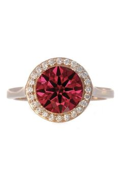 Colored stones like rubies are trending for engagement rings. Go colorful and add some diamonds in for good measure.