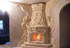 одноклассники Marble Fireplace Mantel, Stove Fireplace, Fireplace Surrounds, Fireplace Design, Fireplace Mantels, Cob Building, Plaster Art, Rock Fireplaces, Murals Street Art