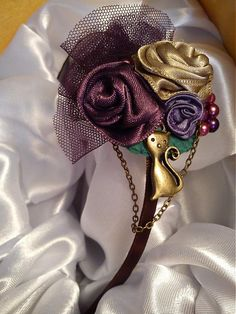 purple handmade vintage fabric roses headband and cute cat