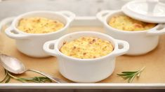 Potato/Rosemary soufflé - When you think of side dishes, people always think of the same potatoes & vegetables. But did you ever think of a soufflé to go alongside your meal? Potato Souffle, Souffle Dish, Souffle Recipes, Mini Cocotte Recipe, English Potatoes, Side Recipes, Fun Recipes, Potato Recipes, Recipe Ideas
